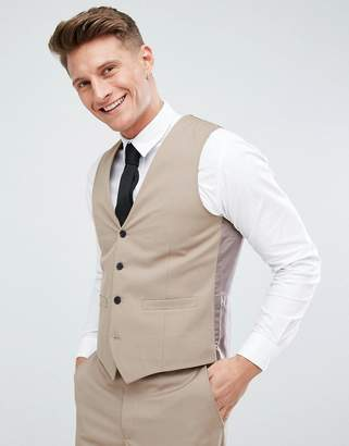 French Connection Skinny Wedding Vest In Camel