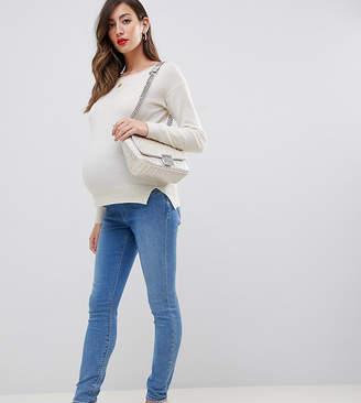 Asos DESIGN Maternity over bump Ridley high waist skinny jeans in lavender blue tone wash