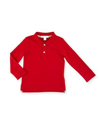 Burberry Palmer Long-Sleeve Pique Cotton Polo Shirt, Military Red, Size 6M-3Y $70 thestylecure.com