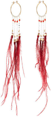 Nakamol Long Feather Dangle Hoop Earrings, Burgundy