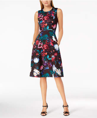 Calvin Klein Floral Scuba Midi Fit & Flare Dress