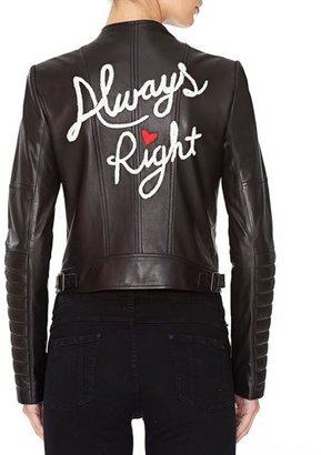 Alice + Olivia Gamma Always Right Embroidered Leather Biker Jacket $995 thestylecure.com