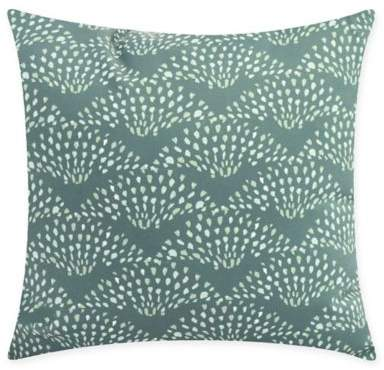 E By Design Fan Dance Square Throw Pillow in Green