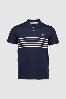 Next Mens GANT Navy Chest Stripe Short Sleeve Polo