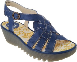 Fly London Leather Braided Front Wedge Sandals - Rini