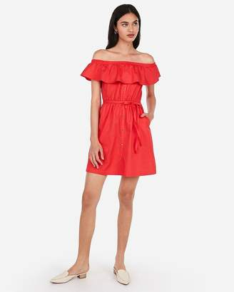 Express Off The Shoulder Button Front Ruffle Dress