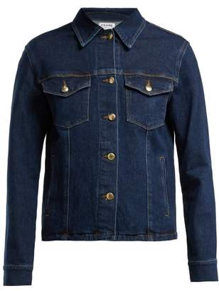 Frame Snap Away Cotton Blend Denim Jacket - Womens - Dark Blue