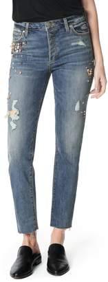 Joe's Jeans Smith Embellished High Waist Raw Hem Ankle Boyfriend Jeans
