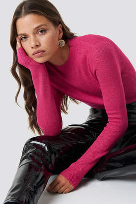 Glamorous Knitted Glittery Jumper Pink Metallic