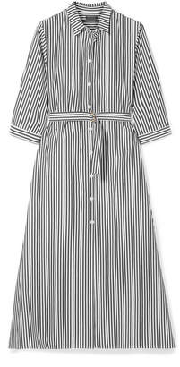 MDS Stripes - Belted Striped Cotton-poplin Midi Dress - Black