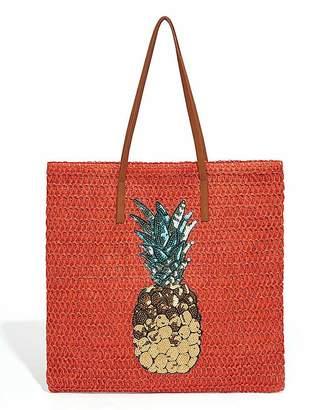 Oasis Pineapple Straw Tote Bag