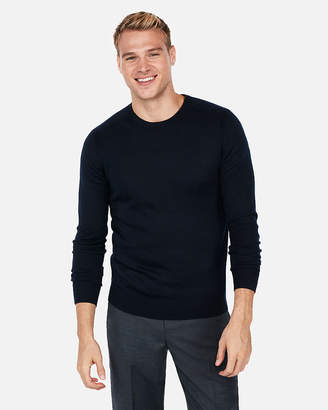 Express Merino Wool Blend Thermal-Regulating Solid Crew Neck Sweater