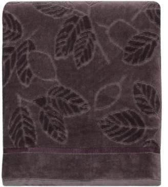 "Bacova Guild Purple Leaves Sculpted Jacquard velour 20"" X 30"" Hand Towel"