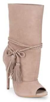 Schutz Jamie Suede Open Toe Tassle Stiletto Boots