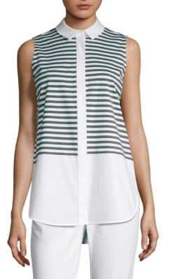 Lafayette 148 New York Malta Stripe Sleeveless Blouse