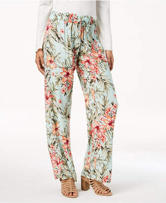 Be Bop Juniors' Tropical Mint Wide-Leg Pants