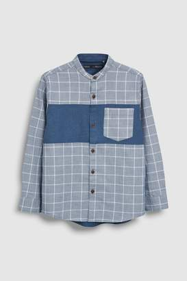 Next Boys Blue Long Sleeve Spliced Grandad Collar Shirt (3-16yrs)