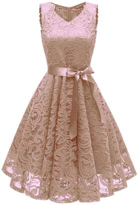 In-fashion style Women's Bridesmaid V Neck Vintage Floral Lace Swing Dress