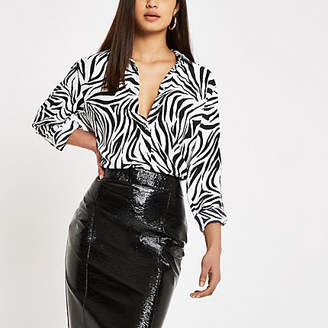 River Island Womens Black zebra print long sleeve shirt