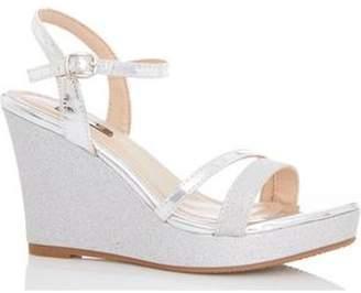 Dorothy Perkins Womens *Quiz Silver Metallic Glitter Wedge Sandals