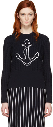 Thom Browne Navy Crewneck Anchor Pullover $1,290 thestylecure.com