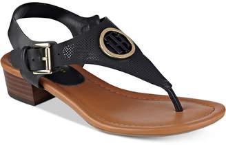 Tommy Hilfiger Kandes Block-Heel Thong Sandals $79 thestylecure.com