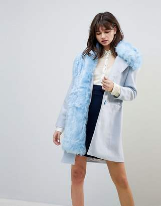 Blend of America Cubic Grace Wool Oversized Coat With Faux Fur Shawl