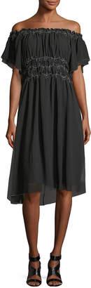 Max Studio Ruffled Smock-Detail Dress