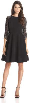 London Times Women's 3/4 Sleeve Lace Full Skirt Dress