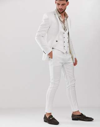 Asos Design DESIGN super skinny suit pants in white linen