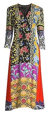 Etro Women's Patchprint V-Neck Dress
