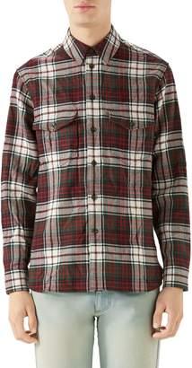Gucci Vintage Tartan Check Wool Flannel Sport Shirt