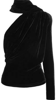 Gareth Pugh Open-back One-shoulder Velvet Top - Black