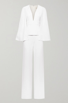 Cushnie Cape-effect Stretch-crepe Jumpsuit - White