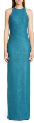 St. John Luxe Sequin Tuck Knit Evening Dress