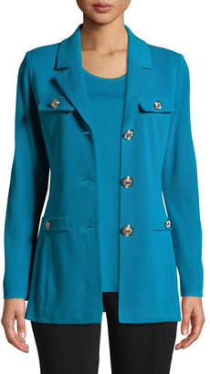 Misook Dressed Up Button-Front Jacket, Petite