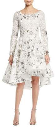 Monique Lhuillier Bateau-Neck Long-Sleeve Shadow-Print Floral-Lace Cocktail Dress