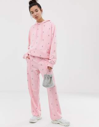 Lazy Oaf relaxed sweatpants with sad face embroidery two-piece