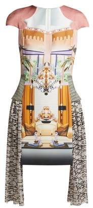 Mary Katrantzou Pe11 Print Crepe And Chiffon Mini Dress - Womens - Pink Multi