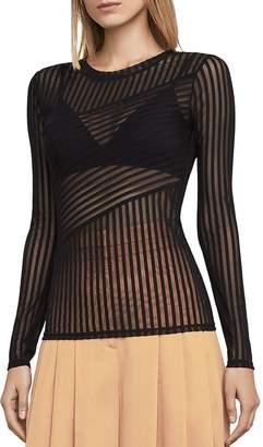 BCBGMAXAZRIA Veira Sheer Striped Mesh Top