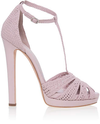 Alexander McQueen Woven Leather Peep Toe Sandals