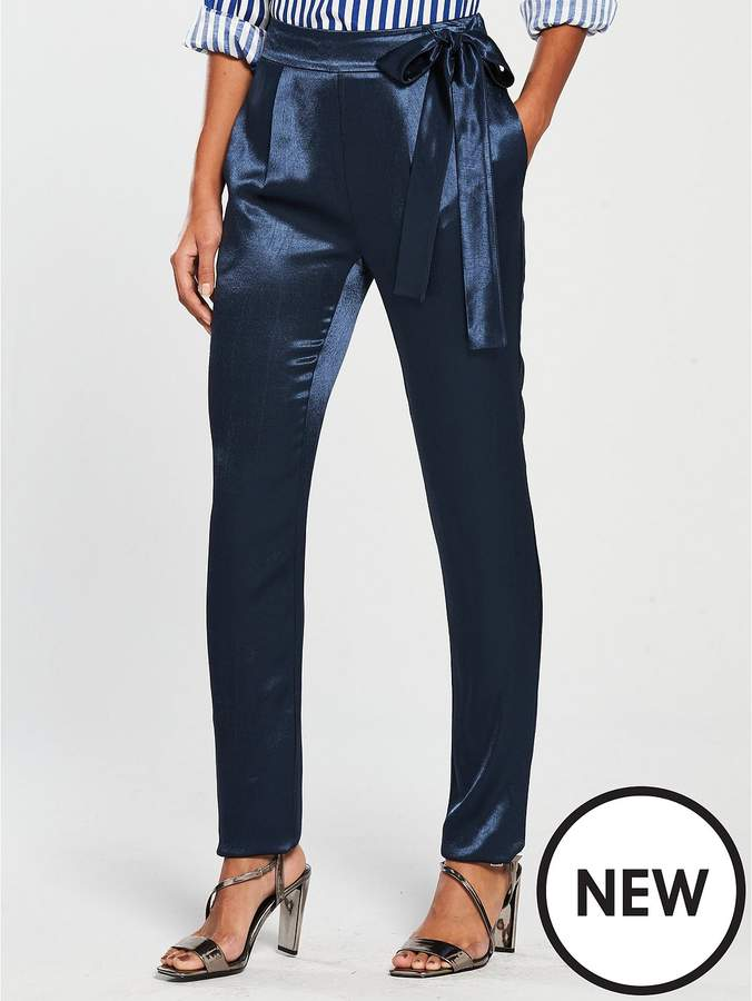 Hammered Satin Tapered Trouser - Navy