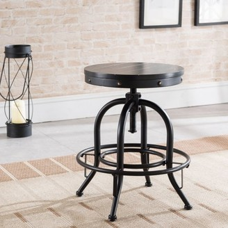 Wagner Round Adjustable-Height Stool, Industrial Style, Black by River Street Designs