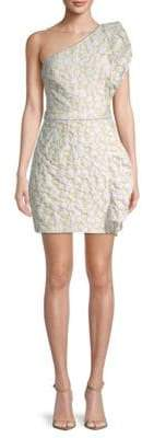 ML Monique Lhuillier Ruffle Jacquard One-Shoulder Mini Dress