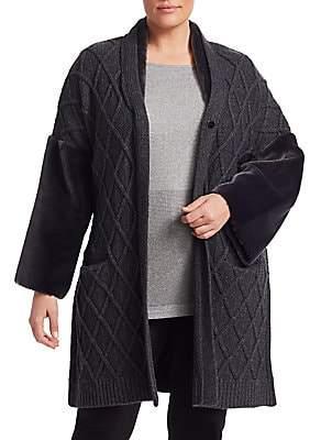 Marina Rinaldi Marina Rinaldi, Plus Size Women's Miceneo Faux Fur-Trim Cabled Cardigan