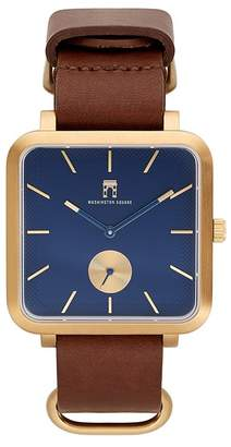 Washington Square Watches Men's Brown Strap Blue Dial Watch, 38mm x 44mm