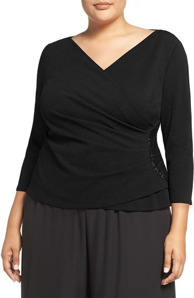 Alex Evenings Plus Size Women's Alex Evenings Beaded Faux Wrap Blouse