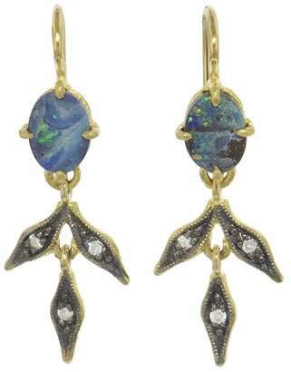 Cathy Waterman Blackened Opal Lyrical Wheat Earrings