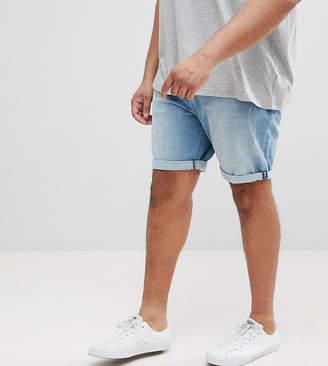 Asos Design PLUS Denim Shorts In Slim Light Wash With Abrasions
