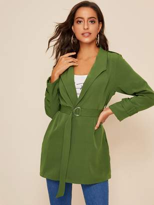 Shein Solid Shawl Collar Belted Trench Coat